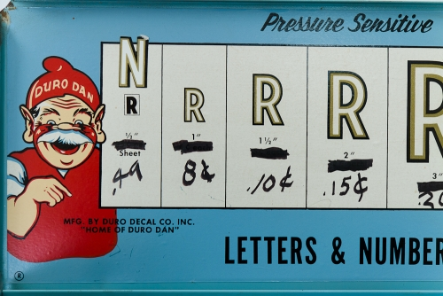Duro Decals Pressure Sensitive Letters & Numbers Box, close-up