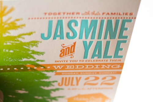 jasmine & Yale's wedding invitation, close-up