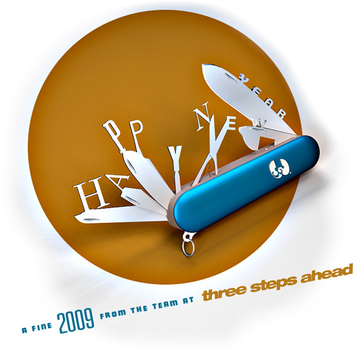 Happy New Year 2009 from three steps ahead