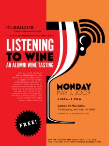 Gallatin Listening to Wine poster, first draft, straight out of Illustrator, and before Devin's Magic