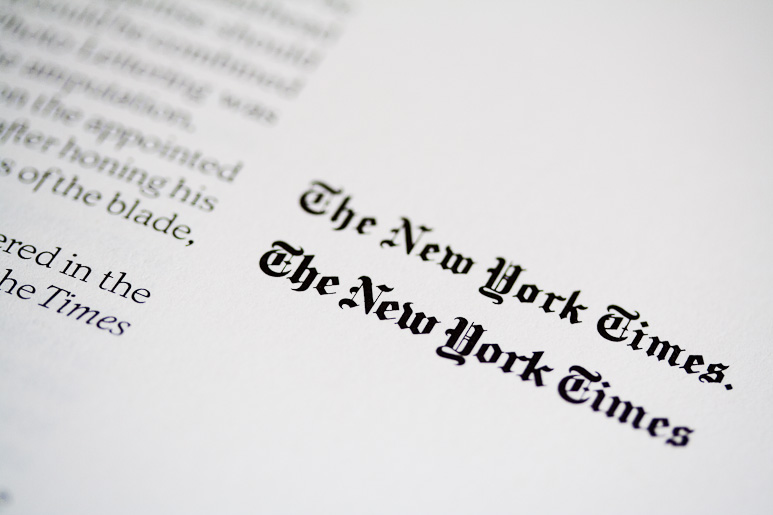 The New York Times masthead Comparison from Ed Rondthaler's book