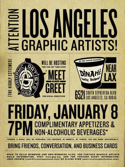 Graphic Artists Guild Los Angeles Meet and Greet Flyer