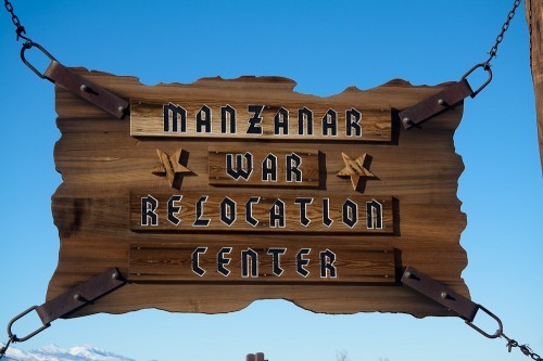Manzanar War Relocation Center Sign (close up)