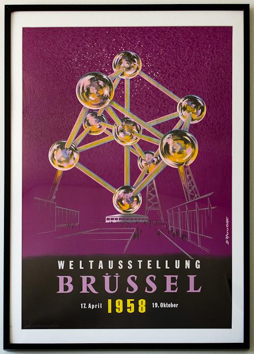 1958 World's Fair Atomium Poster by D'Hooge—Weltausstellung Brüssel