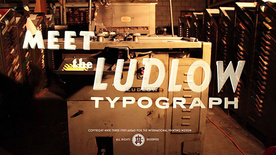 Meet the Ludlow Typograph. Still frame from The Ludlow Project Kickstarter appeal video (watch below).