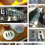 Brenton Hall sign in progress at Eli's shop