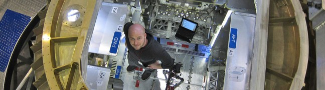 Josh inside of the SpaceX Dragon Capsule