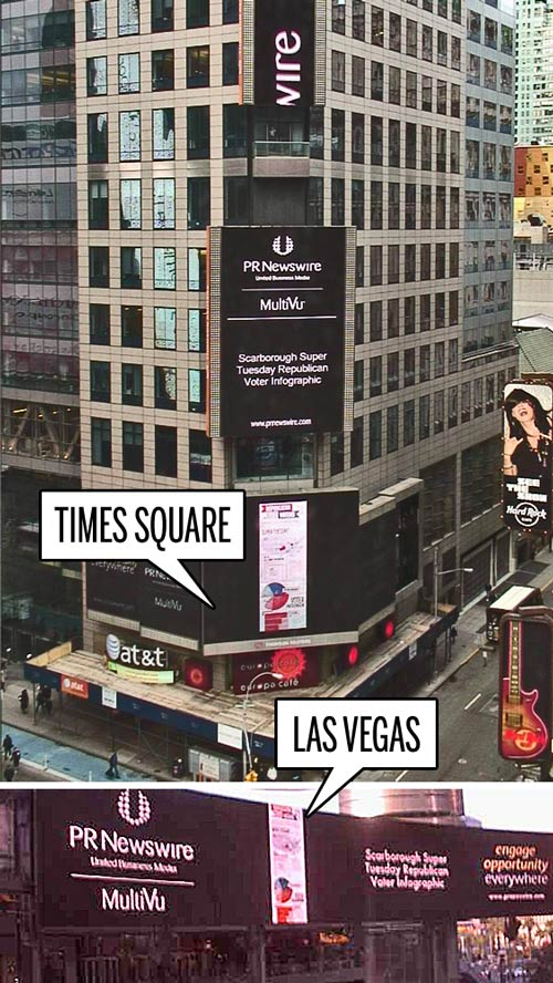 Three Steps Ahead's Republican Voters infographic in Times Square and Las Vegas, courtesy PR Newswire