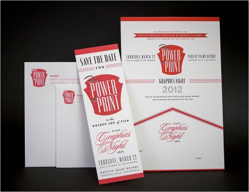 PIASC Graphics Night letterpress invitations set