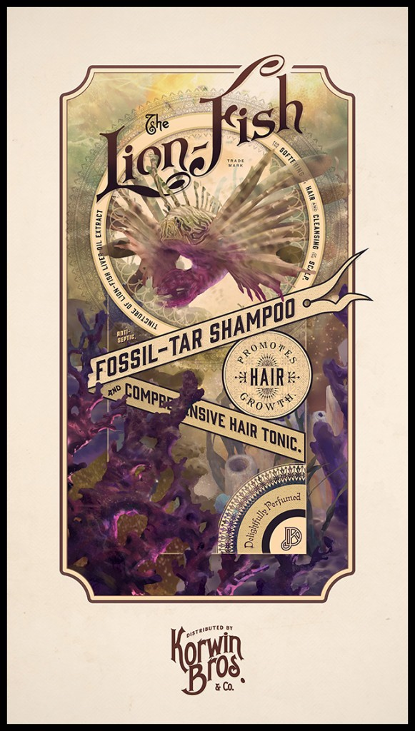 Lionfish Shampoo label design by Josh Korwin & Devin Korwin