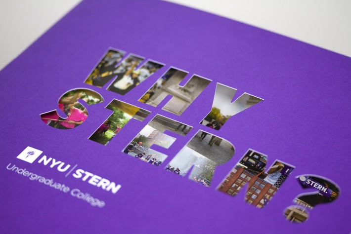 "NYU Stern ""Why Stern"" highlight book, die-cut close-up"