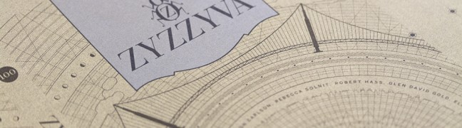 ZYZZYVA No. 100, cover exterior before binding, designed by Josh Korwin