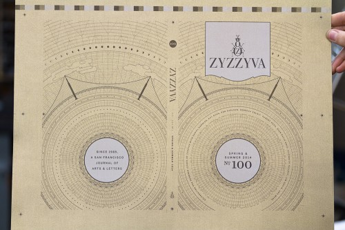 ZYZZYVA No. 100, cover exterior before binding, designed by Josh Korwin