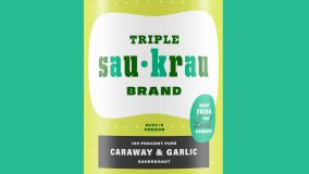 Mid-century packaging inspired Triple Sau-Krau Sauerkraut can, Caraway & Garlic flavor. Brand identity, logo, and packaging label design by Josh Korwin of three steps ahead.