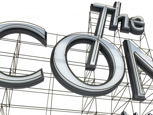 Connie Dial logo sign, 3D render closeup