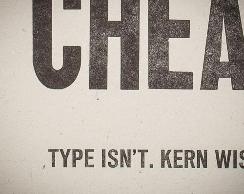 Talk is Cheap letterpress print, close-up