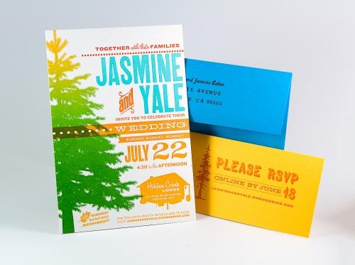 Jasmine & Yale's wedding invitation, complete set