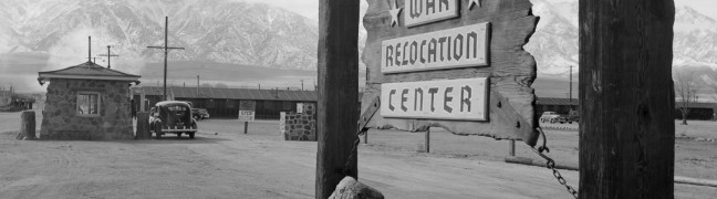 Manzanar sign, photo by Ansel Adams