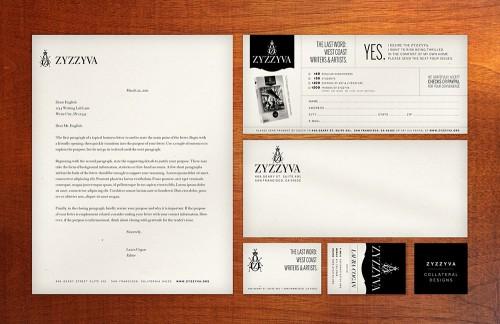 ZYZZYVA print identity collateral