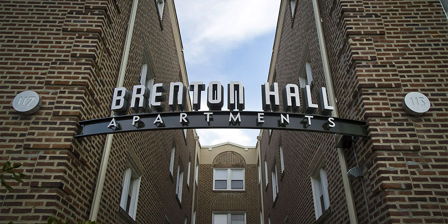 Brenton Hall Apartments sign, Narberth, Pennsylvania