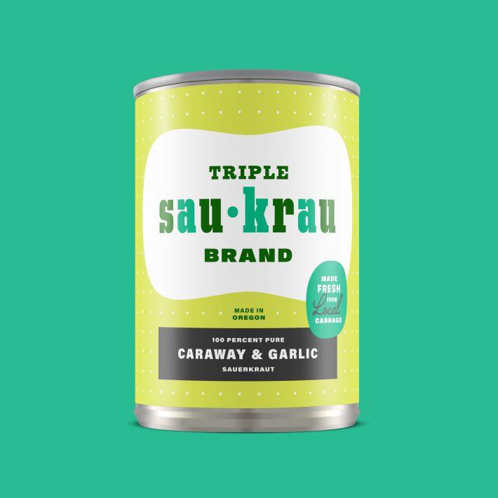Mid-century packaging inspired Triple Sau-Krau Sauerkraut can, Caraway & Garlic flavor. Brand identity, logo, and packaging label design by Josh Korwin of three steps ahead.